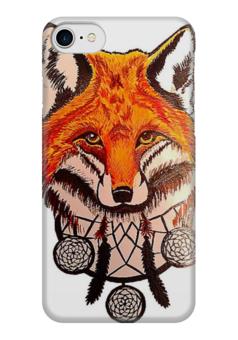 """Чехол для iPhone 7 глянцевый """"FoxCatcher"""" - fox, лиса, ловец снов, dream catcher"""