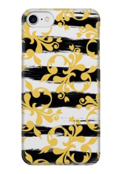 """Чехол для iPhone 7 глянцевый """"Желтые завитки"""" - черно-белый, желтый, абстракция, полосатый, полоски"""