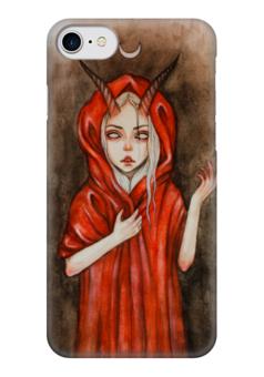 """Чехол для iPhone 7 глянцевый """"Дьявол"""" - девушка, дьявол, сатана, рога, люцефер"""