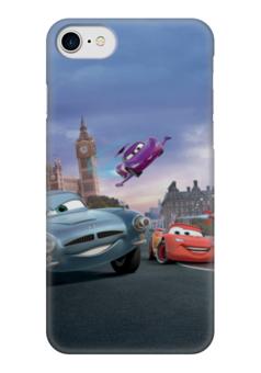 """Чехол для iPhone 7 глянцевый """"Тачки"""" - мультфильм, дисней, машина, тачки, молния"""