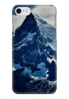 """Чехол для iPhone 7 глянцевый """"Холодные горы """" - голубой, снег, синий, горы, холод"""