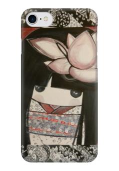 """Чехол для iPhone 7 глянцевый """"кокэси"""" - рисунок, кукла, этно, япония, кимоно"""
