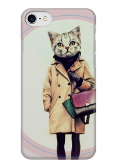"Чехол для iPhone 7 глянцевый ""Кошка "" - кошка, сумка, fashion, учеба"