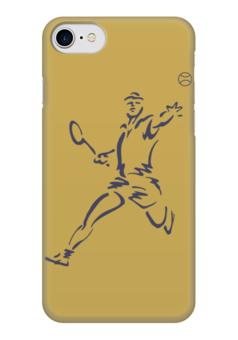 """Чехол для iPhone 7 глянцевый """"Большой теннис"""" - спорт, спортсмен, ракетка, мяч"""