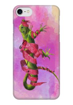 """Чехол для iPhone 7 глянцевый """"Гламур"""" - животные, гламур, акварель, ящерица, красивые картинки"""