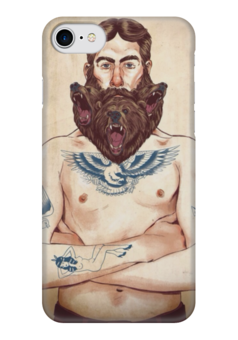 "Чехол для iPhone 7 глянцевый ""Борода"" - bear, медведь, иллюстрация, борода, beard"