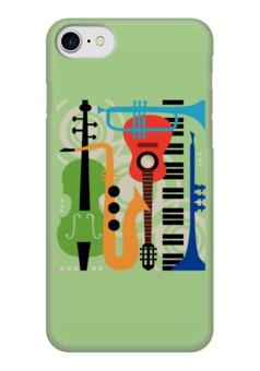 "Чехол для iPhone 7 глянцевый ""Музыкальные инструменты"" - музыка, гитара, скрипка, инструменты, саксафон"