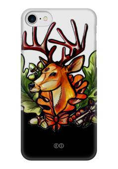 """Чехол для iPhone 7 глянцевый """"Рябина 6"""" - осень, олень, deer, ключ, tm kiseleva, лесной страж, рябина, дуб"""