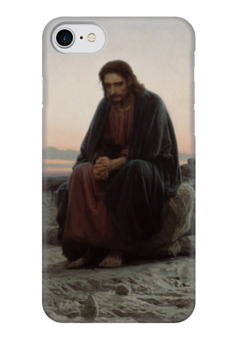 """Чехол для iPhone 7 глянцевый """"Христос в пустыне (картина Крамского)"""" - картина, крамской"""