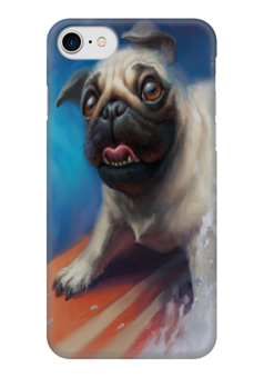 """Чехол для iPhone 7 глянцевый """"Мопс и Сёрфинг"""" - pug, собаки, мопс, surfing, сёрфинг"""