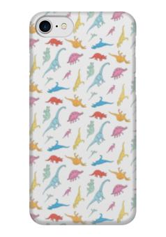 """Чехол для iPhone 7 глянцевый """"Динозаврики"""" - арт, дизайн, динозавры, паттерн"""