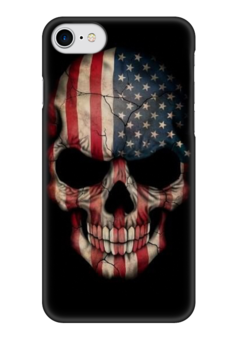 "Чехол для iPhone 7 глянцевый ""Skull Art"" - skull, череп, америка, американский флаг, арт дизайн"