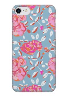 """Чехол для iPhone 7 глянцевый """"Roses on blue"""" - арт, роза, паттерн, blue, roses"""