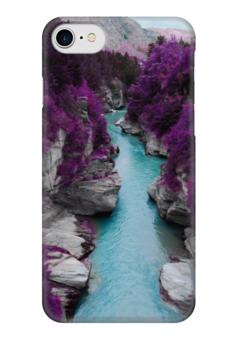 """Чехол для iPhone 7 глянцевый """"Природа"""" - фиолетовые, деревья, горы, река, камни"""