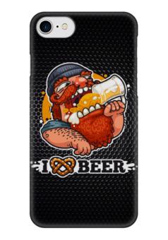 "Чехол для iPhone 7 глянцевый ""Я люблю Пиво (I love Beer)"" - пиво, beer, я люблю пиво"