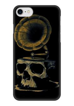 """Чехол для iPhone 7 глянцевый """"Skull Art"""" - skull, череп, artwork, граммофон, арт дизайн"""