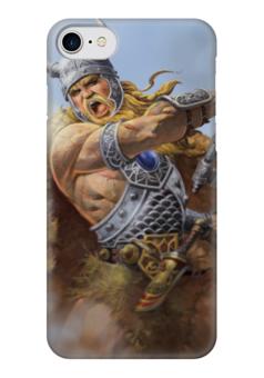 """Чехол для iPhone 7 глянцевый """"Свирепый воин"""" - воин, свобода, русь, викинг, путь воина"""