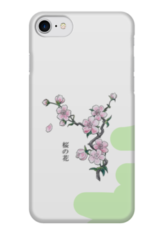 """Чехол для iPhone 7 глянцевый """"Японская сакура"""" - цветы, рисунок, япония, иероглифы, сакура"""