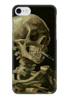 """Чехол для iPhone 7 глянцевый """"Череп с горящей сигаретой (Винсент Ван Гог)"""" - картина, ван гог"""