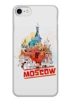 """Чехол для iPhone 7 глянцевый """"Москва"""" - москва, россия, храм, красная площадь, василий блаженный"""