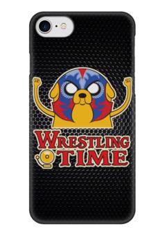"""Чехол для iPhone 7 глянцевый """"Джейк (Adventure Time)"""" - wrestling time"""