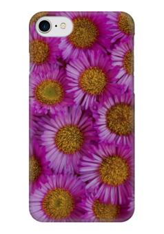 """Чехол для iPhone 7 глянцевый """"Астры"""" - цветы, желтые, розовые, астры"""