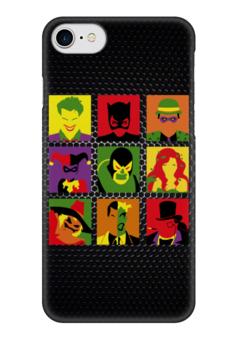 """Чехол для iPhone 7 глянцевый """"Злодеи из Бэтмена"""" - joker, harley, catwomen, пугало, двуликий"""