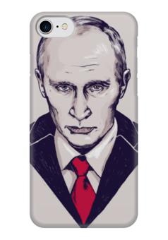 """Чехол для iPhone 7 глянцевый """"Путин"""" - портрет, россия, патриотизм, политика, иллюстрация, путин, президент, putin"""