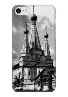 """Чехол для iPhone 7 глянцевый """"Храмы"""" - ретро, города, черно-белый, храм"""
