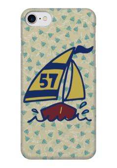 """Чехол для iPhone 7 глянцевый """"Кораблик"""" - пальма, кораблик, рыбки, яхта, парус"""
