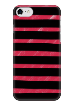 """Чехол для iPhone 7 глянцевый """"Полосато-розовый"""" - черный, розовый, полосатый, полоски"""