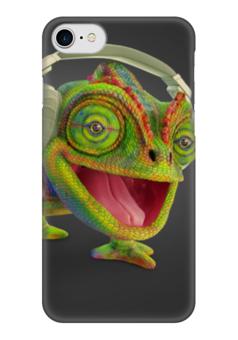 "Чехол для iPhone 7 глянцевый ""Хамелеончик"" - музыка, арт, стиль, сафари, джунгли"