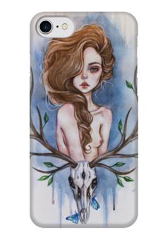 """Чехол для iPhone 7 глянцевый """"Нимфа"""" - череп, лес, олень, рога, нимфа"""