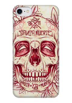 """Чехол для iPhone 7 глянцевый """"Santa Muerte skull"""" - skull, череп, смерть, санта муерте"""