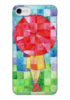 """Чехол для iPhone 7 глянцевый """"Мозаика"""" - девушка, осень, мозаика, зонт"""