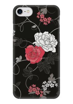 """Чехол для iPhone 7 глянцевый """"Красная и белая розы"""" - цветы, белое, красное, розы"""