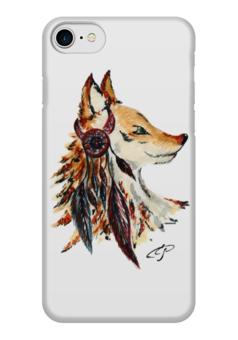 """Чехол для iPhone 7 глянцевый """"Лиса индеец"""" - лиса, индеец, перо, перья"""