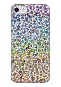 """Чехол для iPhone 7 глянцевый """"Все покемоны"""" - радуга, мульт, пикачу, покемоны, pokemon go"""