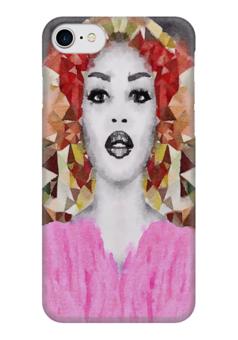 """Чехол для iPhone 7 глянцевый """"Наоми"""" - белый, черный, розовый, коричневый"""