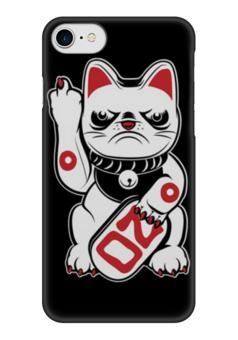 """Чехол для iPhone 7 глянцевый """"Bad Cat"""" - кот, bad, cat, плохой, fuck you"""