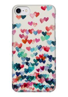 "Чехол для iPhone 7 глянцевый ""Сердечки"" - любовь, love, 14 февраля, сердечки, hearts"
