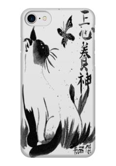 "Чехол для iPhone 7 глянцевый ""Кошка"" - разное, black and white, япония, чёрно-белое"