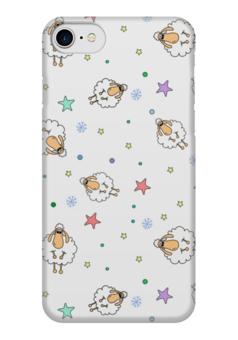 """Чехол для iPhone 7 глянцевый """"Овечки"""" - happy new year, новый год, в подарок, иллюстрация, sheep, овечка, символ2015"""