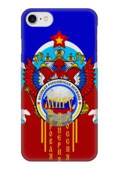 """Чехол для iPhone 7 глянцевый """"Миру - Мир"""" - звезда, медведь, мир, россия, герб"""