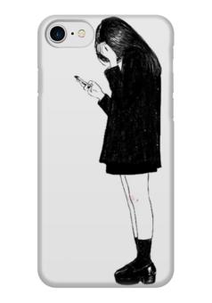 """Чехол для iPhone 7 глянцевый """"why live is so hard?"""" - девушка, белый, чёрный, девочка, грустная"""