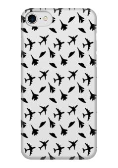 """Чехол для iPhone 7 глянцевый """"Самолетики"""" - графика, самолет, чб, нло"""