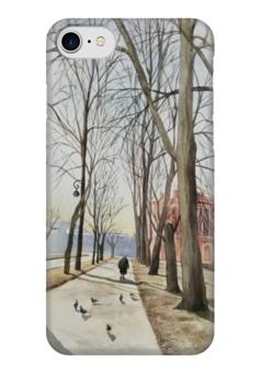"Чехол для iPhone 7 глянцевый ""Прогулка"" - бежевый, город, улица, прогулка, санкт-петербург"
