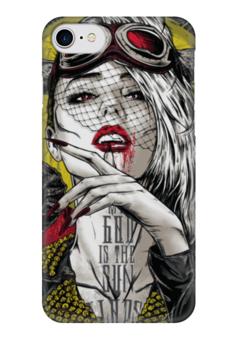 """Чехол для iPhone 7 глянцевый """"Мой Бог — Солнце"""" - девушка, солнце, кровь, иллюстрация, бог"""