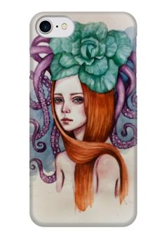 """Чехол для iPhone 7 глянцевый """"Медуза"""" - арт, девушка, море, осьминог, рыжая"""