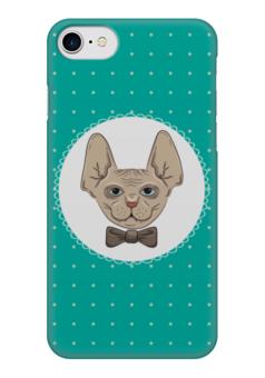 "Чехол для iPhone 7 глянцевый ""Кот сфинкс"" - кот, арт, бабочка, галстук, сфинкс"